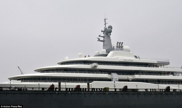 Alongside Eclipse (pictured), Abramovich also owns three other mega-yachts, the Pelorus (377ft), the Ecstasea (282ft) and the Sussurro (161ft)