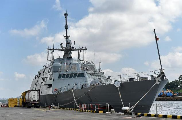 The USS Fort Worth (LCS 3) sits docked at Sembawang Wharves during a port of call in Singapore on February 17, 2015