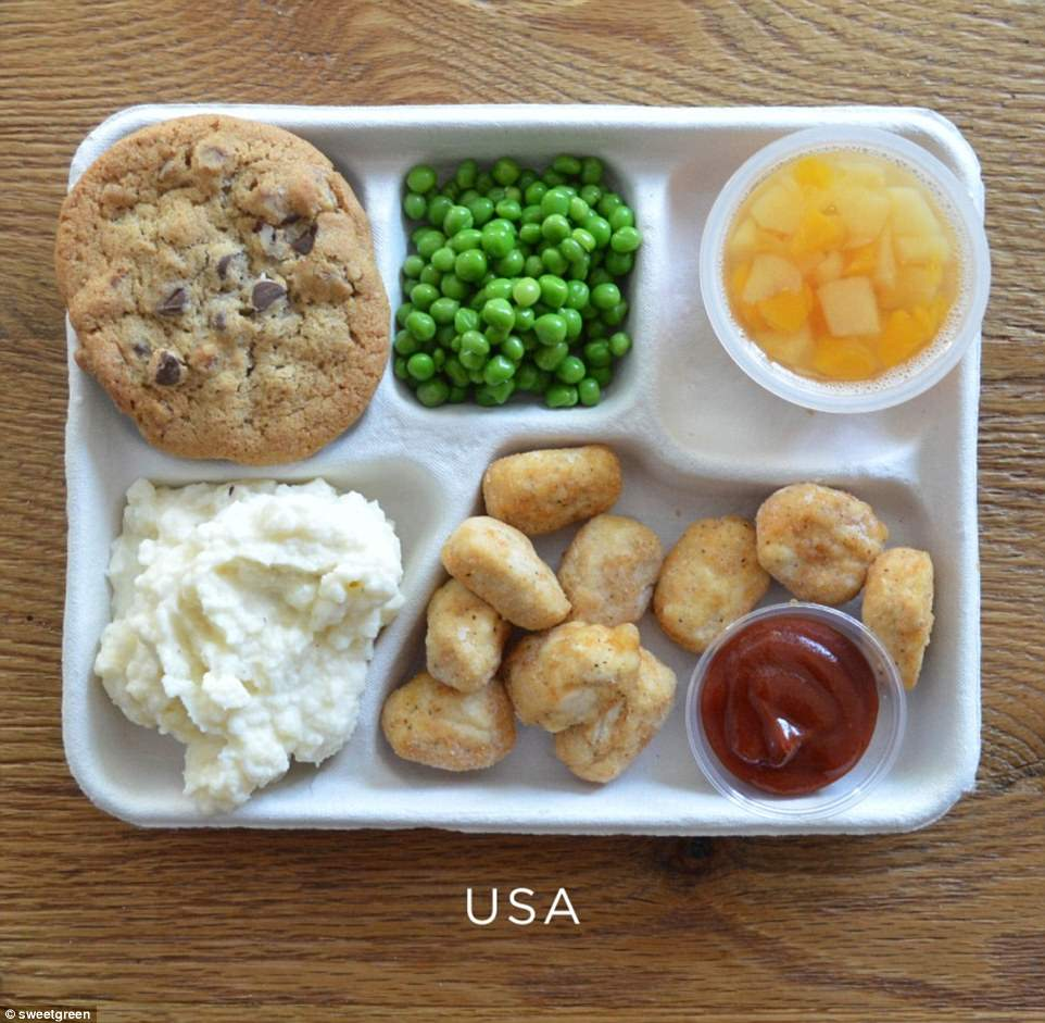 Unhealthy meal: Children in the US get fed popcorn chicken with ketchup, a spoonful of mashed potato, green peas, a fruit cup and a giant chocolate chip cookie for lunch