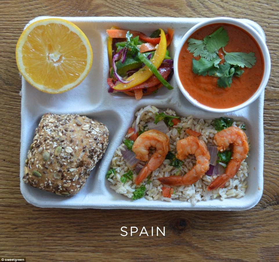 Wholesome: Seeded roll, shrimp with brown rice, gazpacho and tri-colour peppers. Dessert is half an orange