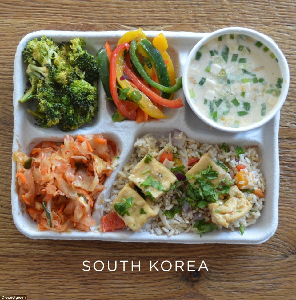 South Korean children tuck into broccoli and peppers, fried rice with tofu, fermented cabbage and fish soup