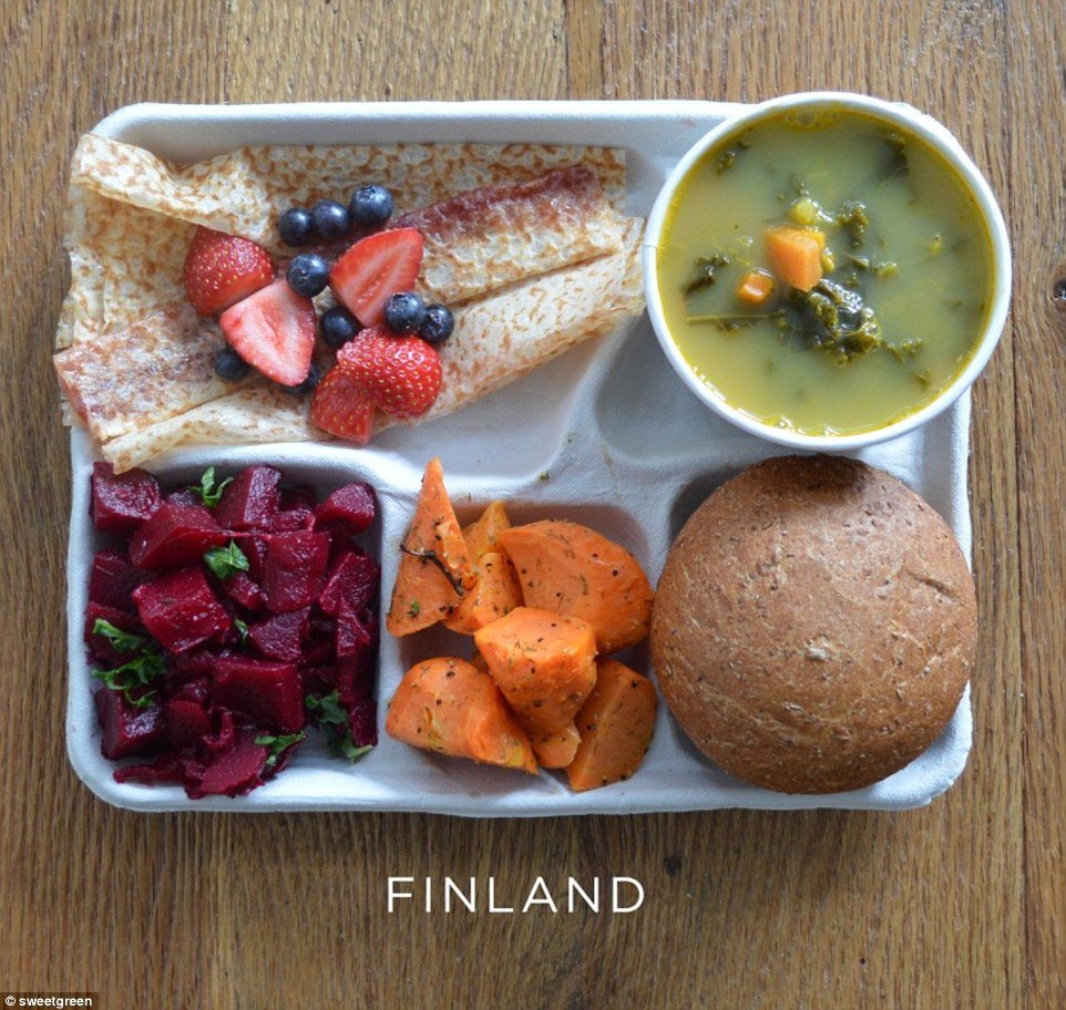 In Finland lunch is mainly a vegetarian affair of pea soup, carrots, beetroot salad, crusty roll and sweet pancake with berries to finish