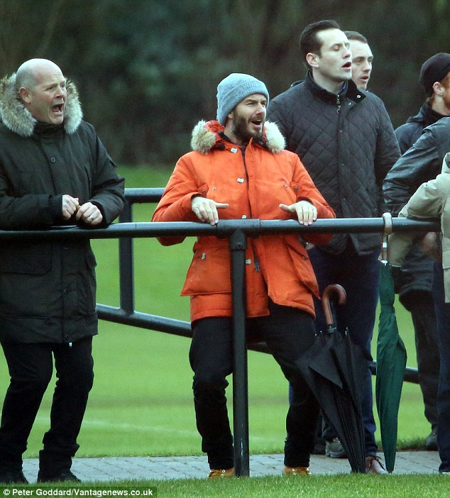 Enthusiastic! David Beckham could not hide his excitement as son Romeo scored the second goal in Arsenal's 3-2 victory over Liverpool at the latter's Kirkby training ground on Thursday