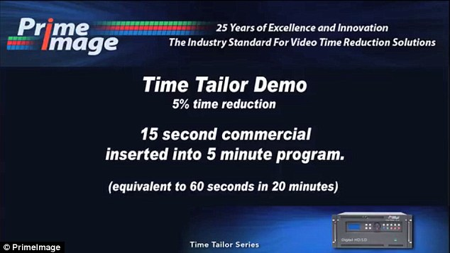 Pennsylvania-based company Prime Image uses a tool known as Time Tailor (bottom right). A five per cent time reduction means that a 15 second commercial can be inserted into a five minute program