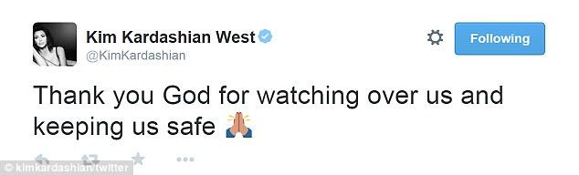 Tras que Kim llevó a los medios de comunicación social que gracias a Dios para ver a su familia y mantenerlos segura como todos ellos se escapó sin lesiones