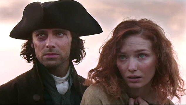 Fresh faces: Aidan Turner as the brooding Captain Ross Poldark with Eleanor Tomlinson as Demelza