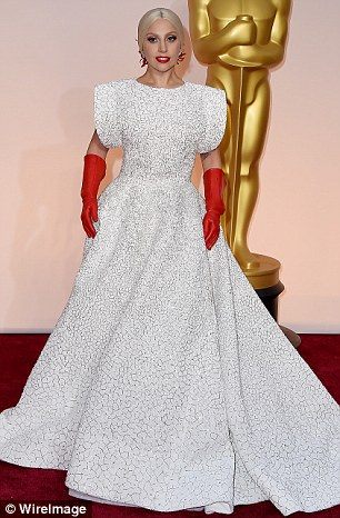 Lady Gaga Oscars dress with matching red gloves by Azzedine Alaia