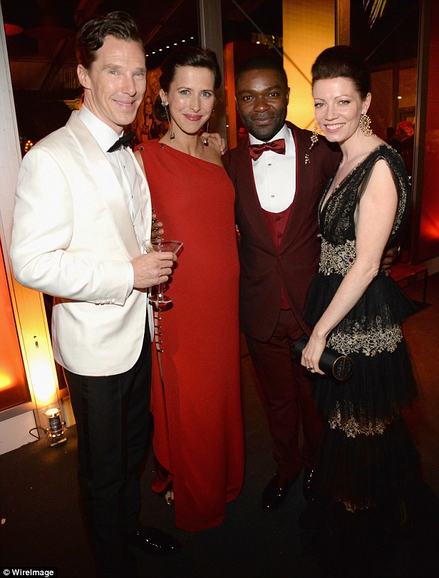 Pals: Benedict and Sophie joined David Oyelowo and his wife Jessica at the 2015 Vanity Fair Oscar Party hosted by Graydon Carter at the Wallis Annenberg Center for the Performing Arts