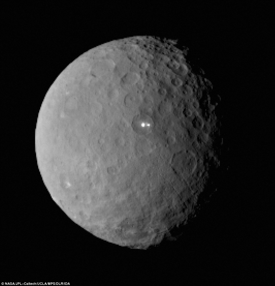 Ceres continues to baffle astronomers as the Dawn spacecraft gets closer to being captured into orbit around the dwarf planet. This image was taken by the Dawn spacecraft of dwarf planet Ceres on February 19 from a distance of nearly 29,000 miles (46,000 km). It shows that the brightest spot on Ceres has a dimmer companion, which apparently lies in the same basin