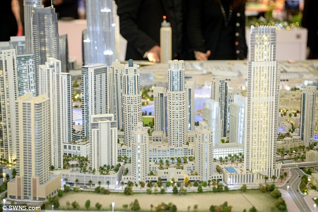 Expanding: The plans for the party island are on show alongside other building projects planned across the region at the Dubai Property show