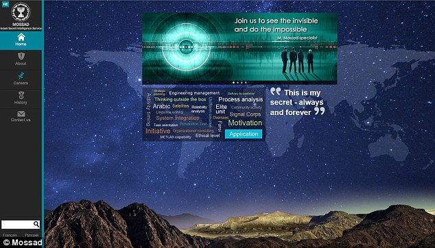 Mossad: The front page of the website for Israel's spy agency says it sees the 'invisible' and does the 'impossible'