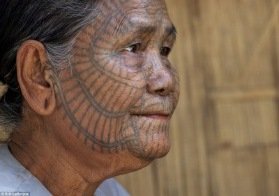 Meaning: Each of the facial tattoos is replete with symbols, although the most frequently seen design is the spider's web (pictured)
