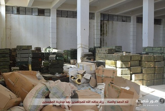 Vast: The supplies were seized when the Western-backed moderate rebel group Harakat Hazm recently disbanded and allowed their headquarters to be overrun with jihadis