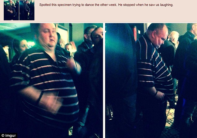Nasty: Sean, of London, became known as the Dancing Man after these two photos of him were posted online with the caption: 'Spotted this specimen trying to dance the other week. He stopped when he saw us laughing'