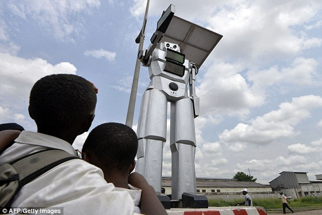 The robots are also equipped with rotating chests and surveillance cameras that record the flow of traffic and send real-time images to the police station