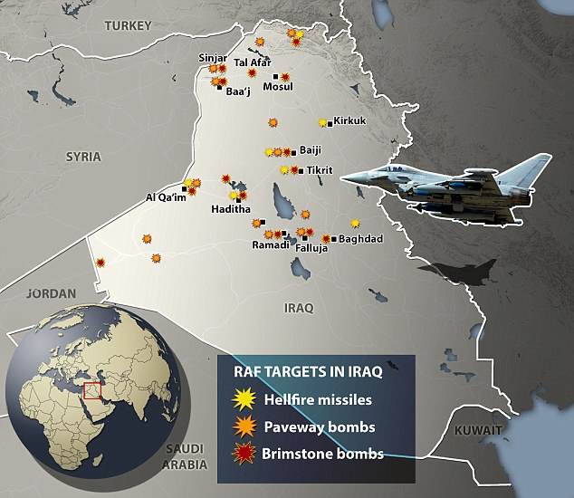 The bombings, carried out by Britain's fleet of warplanes and unmanned drones, have targeted more than 180 ISIS positions (above), with some hit multiple times