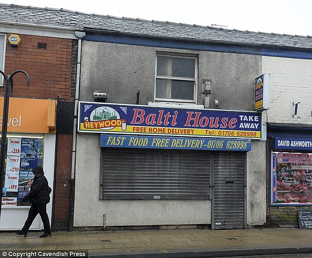 Shame: The abuse of the jailed gang began at two takeaways in the Heywood area of Rochdale, including the Balti House (pictured), which is under new ownership