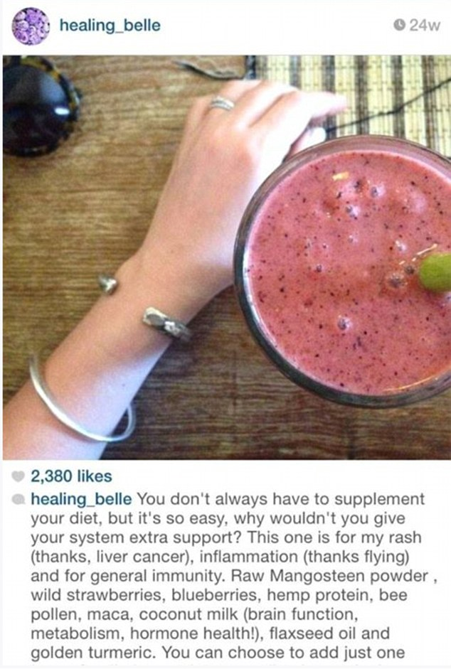 In a reference to her liver cancer, she posted on Instagram under her account @healing_belle, a photo of a pink smoothie enriched with 'extra support'
