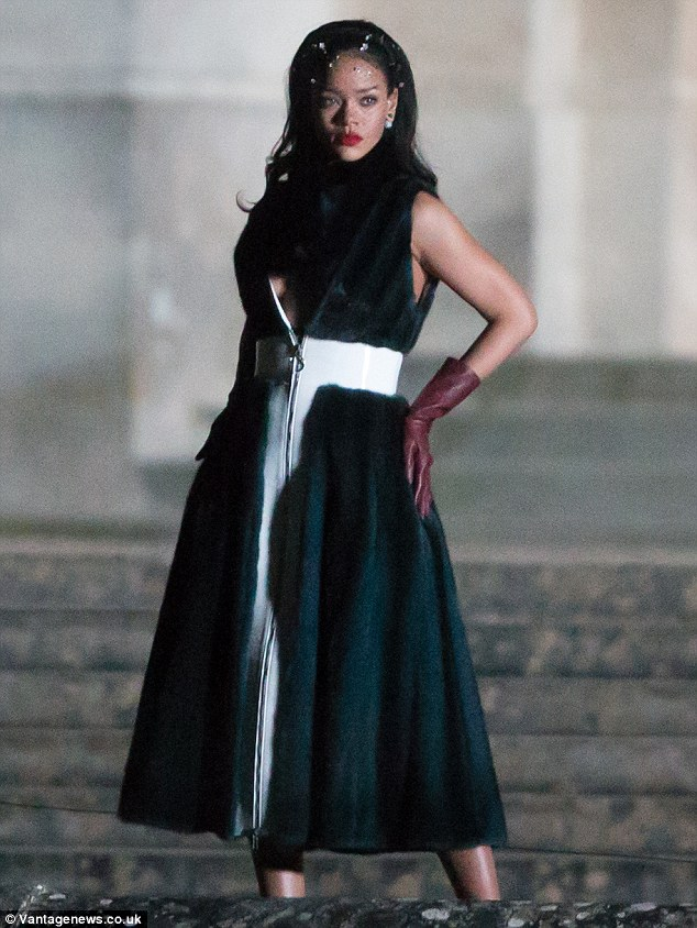 Strike a pose: Rihanna was seen working on a photoshoot for the upcoming campaign at the Palace of Versailles on Tuesday night