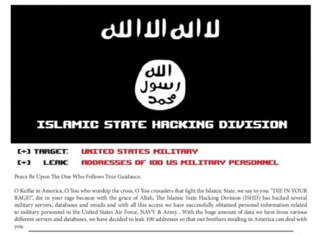 A group called the Islamic State Hacking Division posted information about 100 US military members online