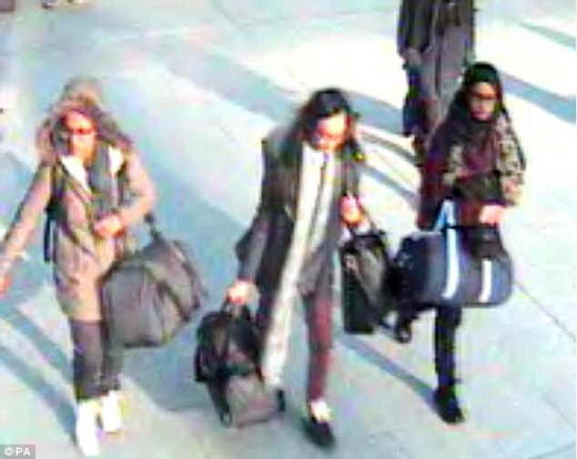 A CCTV image of 15-year-old Amira Abase, Kadiza Sultana,16, and Shamima Begum,15 at Gatwick Airport before they caught their flight to Turkey