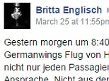 Screen grab of post on Germanwings Facebook page