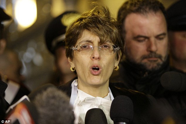 Finished: Raffaele Sollecito's lawyer Giulia Bongiorno (pictured) spoke to the media after the seven-year-long legal battle was finally put to rest