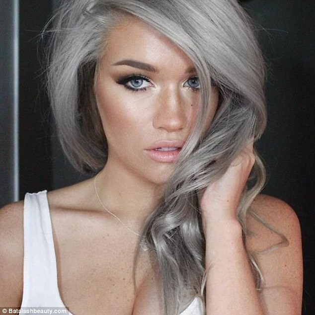 Batalashbeauty.com posted this image on their Twitter feed showing the a model sporting grey locks