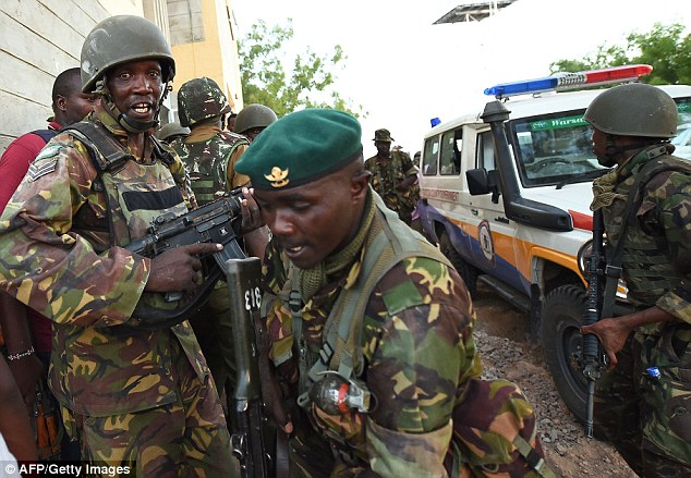 Soldiers pictured at Garissa University College campus, where 147 people have been murdered by al-Shabaab terrorists