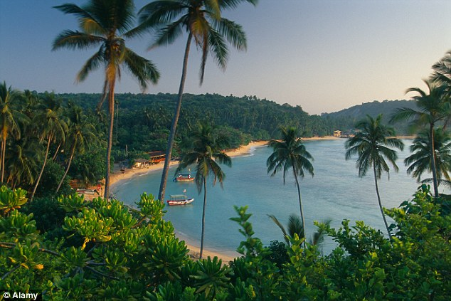 Paradise! A golden beach with turquise waters at Unawatuna near Galle on the south coast of Sri Lanka