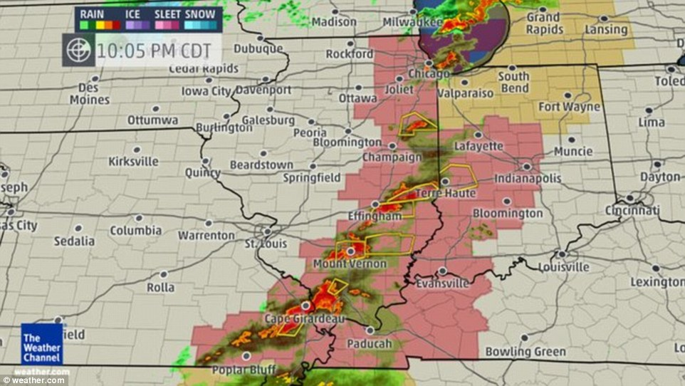 The area on the map highlighted in pink had the greatest tornado risk Thursday night