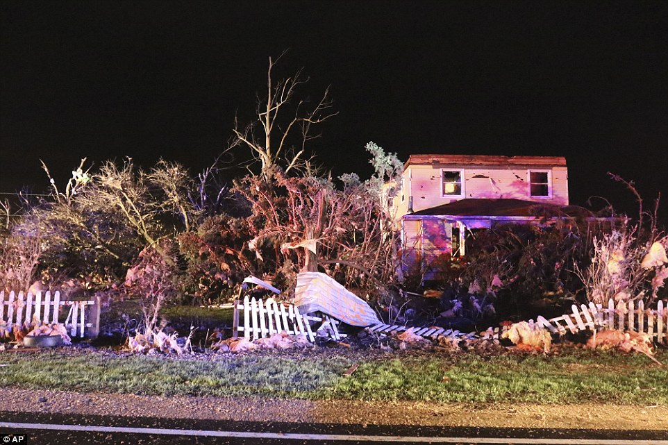A house along Rt. 72 in Kirkland has substantial damage from the wedge tornado that passed through