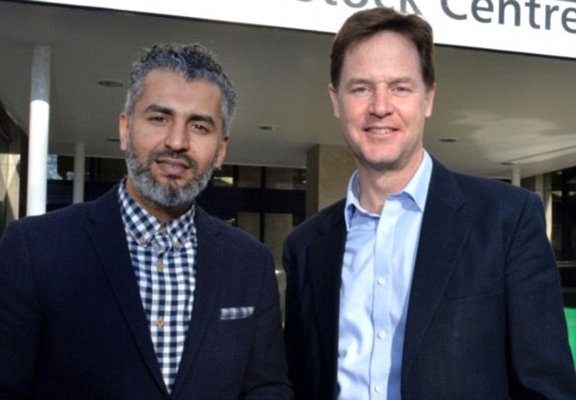 Converted: Lib Dem candidate Maajid Nawaz, pictured with Deputy Prime Minister Nick Clegg, spent 13 years inside Hizb ut-Tahrir and was jailed in Egypt in 2005 for his role in radical Islamist group