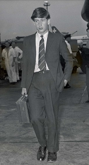 Prince Charles is seen arriving at London airport after the Gordonstoun summer term in 1963