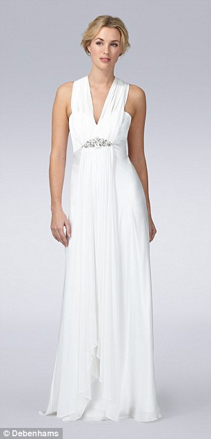 Can YOU tell which is which? Left: Debut at Debenhams £199 Ivory embellished Grecian wedding dress