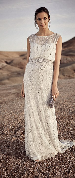 Phase Eight's Hope Twenties inspired wedding dress heavily embellished with shimmering beads and sequins, right, which, at £595, is less than half the price