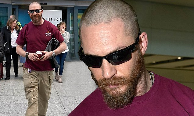 Tom Hardy Steps Out With Newly Shaven Head And Scruffy