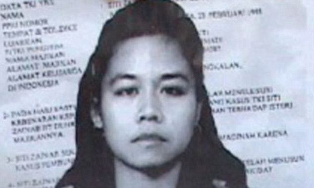 Executed: Indonesia and human rights groups are furious that Saudi Arabia executed domestic worker Siti Zainab without notifying the country's officials or her family