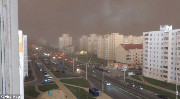 Dark clouds start forming over the city ofSoligorsk, Belarus, as a sandstorm sweeps over the city