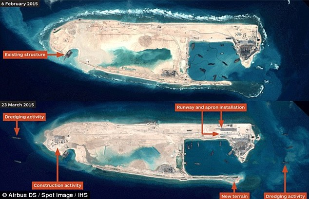 Construction: Newly released satellite images reveal that China has built a runway (pictured) - which could be used for military operations - in a dispute region in the South China Sea
