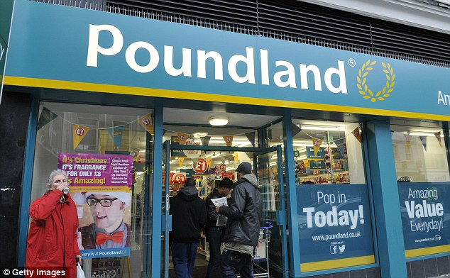 New research has found that certain items on sale at Poundland, pictured, are up to 50 per cent more expensive than those sold in supermarkets