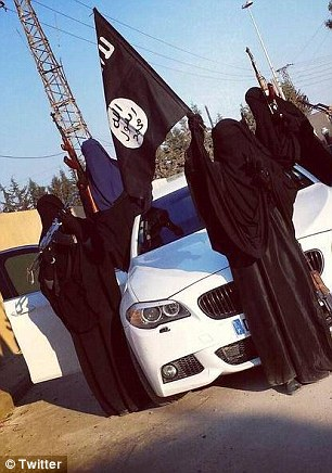 Jihad: Several women who fled their homes to join ISIS are pictured in an image from social media. It is not clear whether Muthana is among them