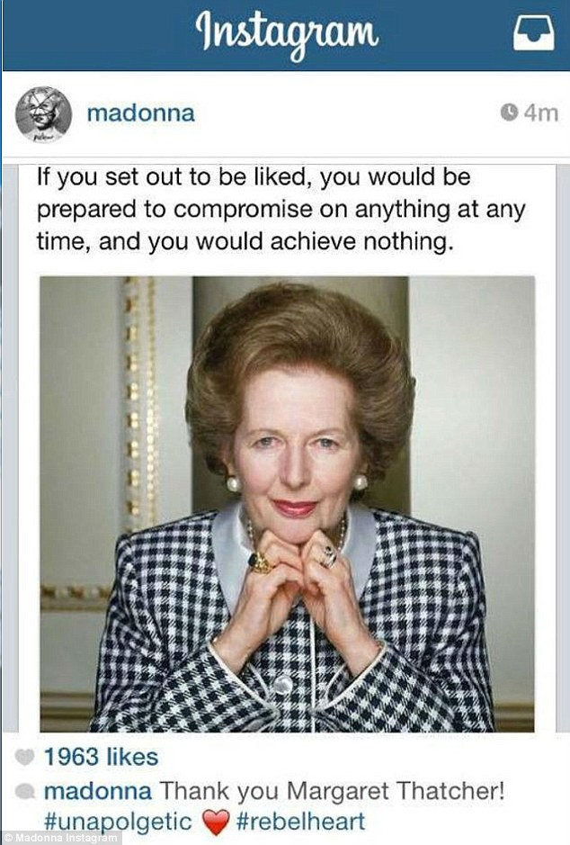 Pop singer Madonna faced a barrage of criticism from her gay fanbase today after posting this photograph of former Prime Minister Margaret Thatcher and 'thanking' her for her service. She deleted it just moments later