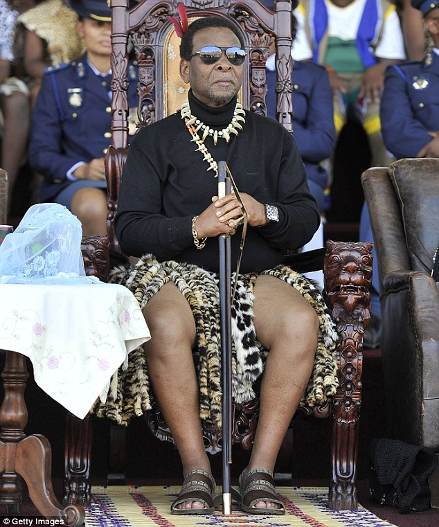 Controversial: King Goodwill Zwelithini (pictured) has been blamed for sparking the xenophobic riots which has left at least seven dead in the last couple of weeks as it spreads from Durban to Johannesburg