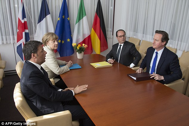 David Cameron held high-level talks with Italian Prime Minister Matteo Renzi (left), German Chancellor Angela Merkel (top left) and French President Francois Hollande (top right) at a European Union summit yesterday