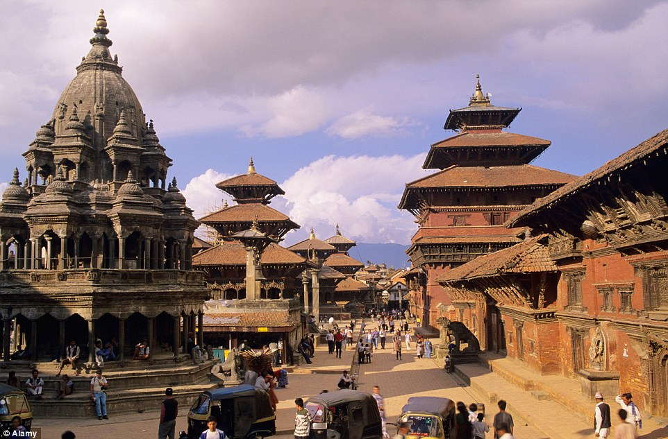 Centre: The Patan Durbar Square, pictured before the disaster, is the third major hub of the historic royal family which has been devastated