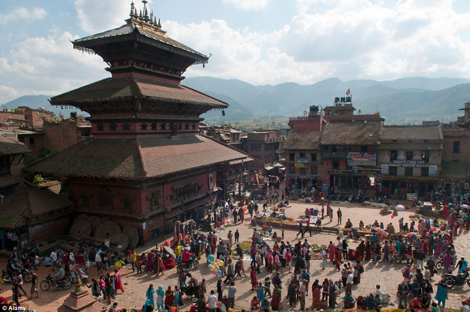 Heritage: The Bhaktapur Durbar Square, pictured before the quake, is another one of the three main public spaces in the Kathmandu area