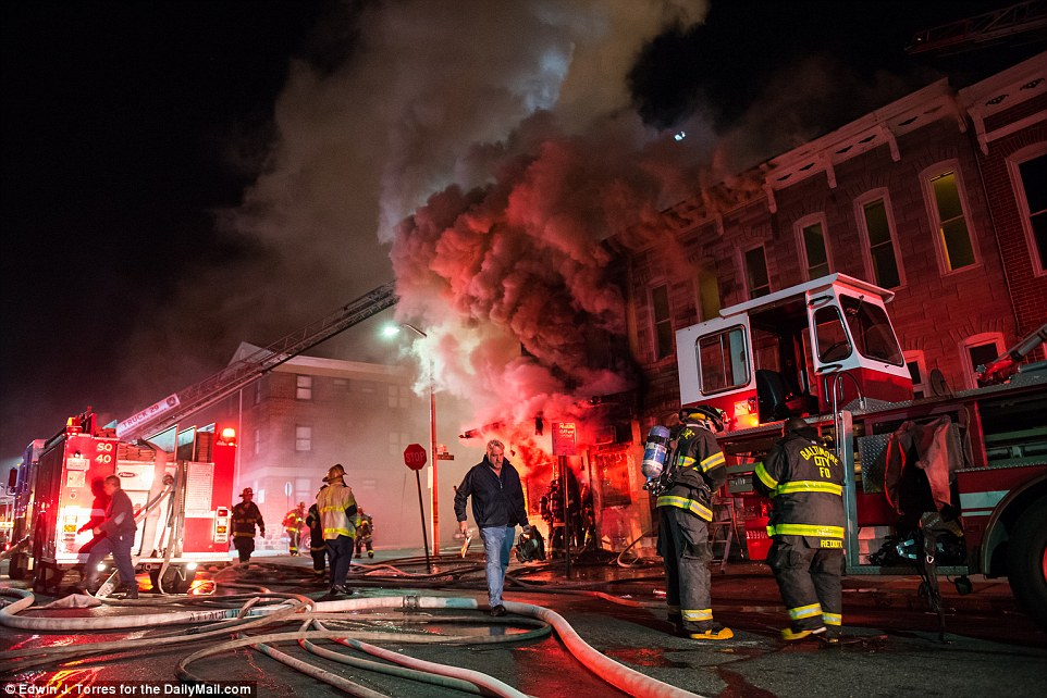 Flames: A storefront was set on fire around midnight at Baker Street in Baltimore.  Firemen and police officers responded to control the situation on Monday night
