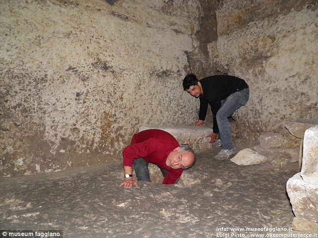 The search for the pipe (shown in this image of Mr Faggiano and his son) began at the turn of the millennium when no-one could have predicted the treasures hidden beneath the floorboards, which revealed a subterranean world dating back to before the birth of Jesus