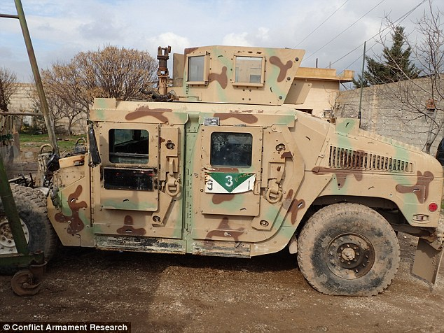 The U.S. military vehicles were taken by ISIS when they over-ran Iraqi Army installations earlier in the conflict